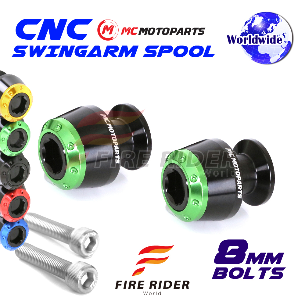 8mm Rear ATOM Swingarm Spools Sliders For Kawasaki ZX-10R Ninja 11-17 11 12 13