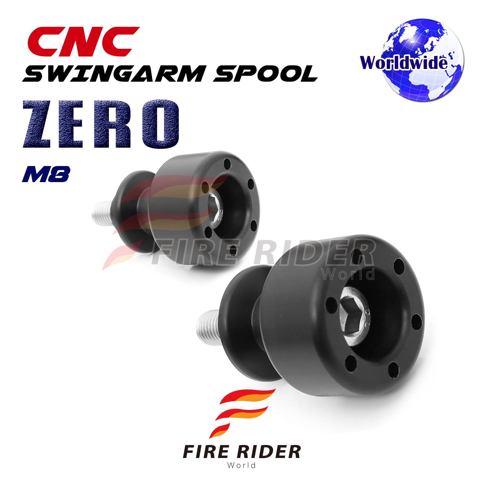 Black CNC Swingarm Spools 8MM L//R For Suzuki DL650 V-STROM 650 04-16 09 10 11