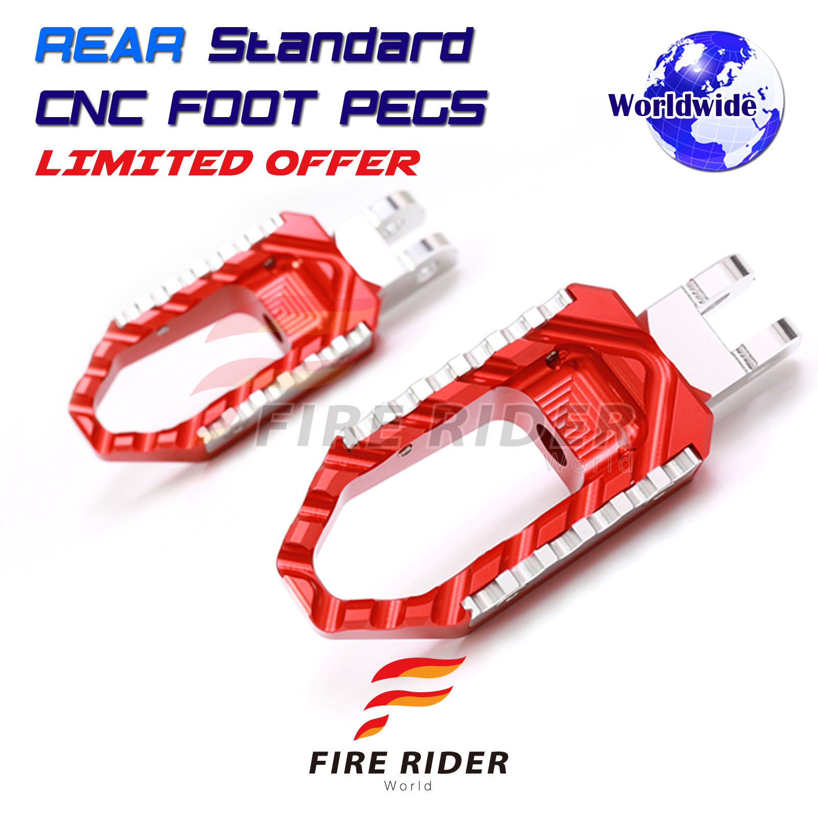 Red CNC Adjustable Front Touring Foot Pegs For Ducati Multistrada 1200 //S 2010-2016